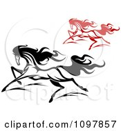 Clipart Fast Black And Red Horses Running 2 Royalty Free Vector Illustration