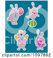 Clipart Four Easter Bunnies With Colorful Eggs Royalty Free Vector Illustration by Vector Tradition SM