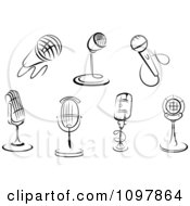 Clipart Black And White Karaoke Or Singer And Retro Radio Desk Microphones Royalty Free Vector Illustration