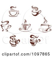 Clipart Steamy Brown Coffee Icons 2 Royalty Free Vector Illustration