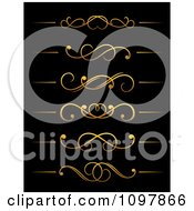 Clipart Golden Flourish Rule And Border Design Elements 15 Royalty Free Vector Illustration