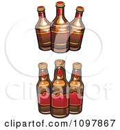 Clipart Beer Bottles With Brown And Red Labels Royalty Free Vector Illustration