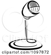 Clipart Black And White Retro Radio Desk Microphone 1 Royalty Free Vector Illustration