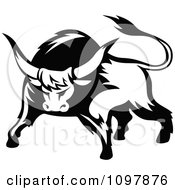 Clipart Black And White Tough Bull 1 Royalty Free Vector Illustration by Vector Tradition SM