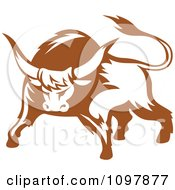 Clipart Brown And White Tough Bull 1 Royalty Free Vector Illustration by Vector Tradition SM