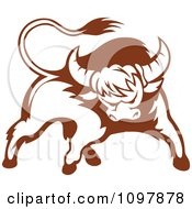 Clipart Brown And White Tough Bull 2 Royalty Free Vector Illustration by Vector Tradition SM