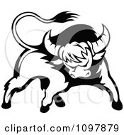 Clipart Black And White Tough Bull 2 Royalty Free Vector Illustration by Vector Tradition SM