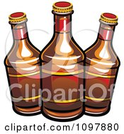 Clipart Three Beer Bottles With Brown Labels Royalty Free Vector Illustration