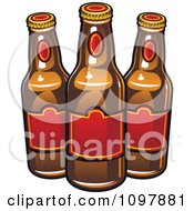 Clipart Three Beer Bottles With Red Labels Royalty Free Vector Illustration