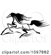 Clipart Fast Black And White Horse Running 1 Royalty Free Vector Illustration