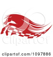 Clipart Red Running Race Horse And Checkered Flag Royalty Free Vector Illustration