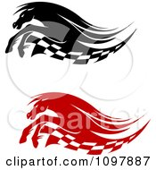 Clipart Black And White Running Race Horses And Checkered Flags Royalty Free Vector Illustration
