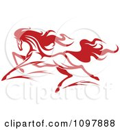 Clipart Fast Red Horse Running 2 Royalty Free Vector Illustration