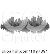 Clipart Grayscale Waterfront City Skyline And Reflection Royalty Free Vector Illustration by Vector Tradition SM