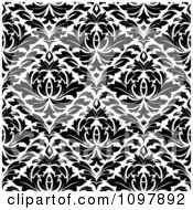 Clipart Black And White Triangular Damask Pattern Seamless Background 21 Royalty Free Vector Illustration