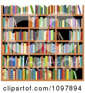 Clipart Library Shelves With Colorful Reference Books Royalty Free Vector Illustration