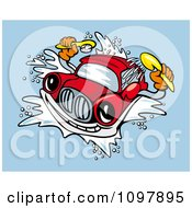 Clipart Red Automobile Washing Itself In A Car Wash Royalty Free Vector Illustration