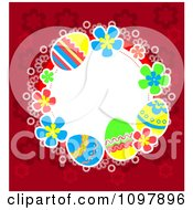 Clipart Floral And Easter Egg Circular Frame With Red Around White Copyspace Royalty Free Vector Illustration