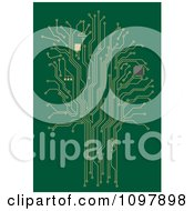 Clipart Gold Tree Of Circuits On Green Royalty Free Vector Illustration
