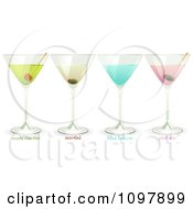 Clipart 3d Martini Pink Gin Blue Lagoon And Apple Martini Cocktails Royalty Free Vector Illustration by elaineitalia