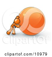 Strong Orange Business Man Pushing An Orange Sphere Clipart Illustration