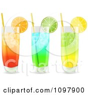 Clipart 3d Cocktail Drinks In Highball Glasses Garnished With Lemon Orange And Lime Wedges Royalty Free Vector Illustration by elaineitalia