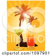 Clipart 3d Cocktail Drinks And Silhouetted Palm Trees Against An Orange Sunset Royalty Free Vector Illustration