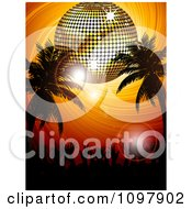 3d Gold Disco Ball Over Silhouetted Palm Trees And A Crowd Of Hands On An Orange Swirl