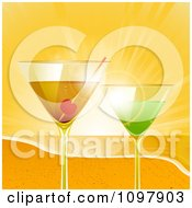 Clipart 3d Cocktail Drinks On A Sandy Beach At Sunset Royalty Free Vector Illustration by elaineitalia