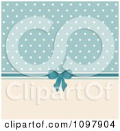 Retro Background Of Beige Polka Dots On Blue With A Bow And Ribbon