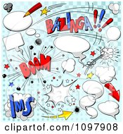Clipart Cartoon Comic Clouds Sounds And Speech Balloons On Blue Halftone Royalty Free Vector Illustration by Pushkin