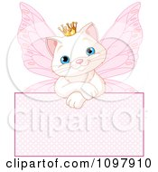 Clipart Cute White Spoiled Princess Cat Fairy Over A Pink Sign Royalty Free Vector Illustration