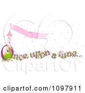 Clipart Princess Tower With Flag Banner And Once Upon A Time Text With Pink Stars Royalty Free Vector Illustration by Pushkin