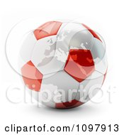 Clipart 3d Red And White Polish Ukraine Euro 2012 Football Championships Soccer Ball Royalty Free CGI Illustration by Mopic