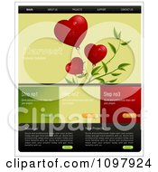 Clipart Website Home Page Interface Template With Hearts On A Plant And Steps And Navigation Bars Royalty Free Vector Illustration by creativeapril