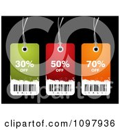 Clipart Three Colorful Grungy Discount Sales Tags On Black Royalty Free Vector Illustration