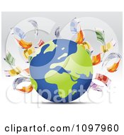 Clipart Cash Floating Around A Globe Royalty Free Vector Illustration