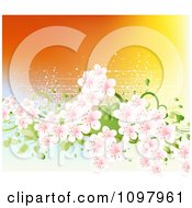 Clipart Spring Cherry Blossoms And Green Foliage With Grunge Over Orange Royalty Free Vector Illustration