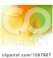 Clipart Golden Transparent Globe With Mesh Waves Over Orange And Green Royalty Free Vector Illustration