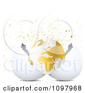 Clipart 3d Gold And White Globe Hatching From An Egg With Golden Splatters Royalty Free Vector Illustration