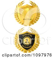 Clipart 3d Gold And Black Guarantee And Warranty Badge Labels Royalty Free Vector Illustration by creativeapril