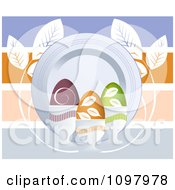 Clipart Decorated Easter Eggs In Cups By A Plate Over Colorful Horizontal Lines With Leaves Royalty Free Vector Illustration