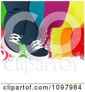 Pair Of Shoes And Legs Draped Over Colorful Wavy Lines And White Grunge With Copyspace
