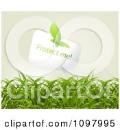 Clipart Leaf Butterfly On A Protect Me Speech Balloon Over Grass Royalty Free Vector Illustration by creativeapril
