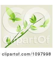 Clipart Green Leaf Butterflies And A Tree Branch Royalty Free Vector Illustration by creativeapril