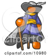 Orange Male Pirate With A Cane And A Peg Leg