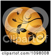 Clipart Golden Circles With Black Vines Royalty Free Vector Illustration