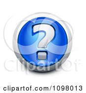 Clipart 3d Blue And Silver Question Mark Assistance Icon Royalty Free Vector Illustration