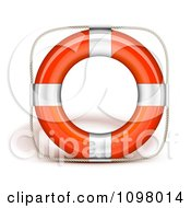 Clipart 3d Orange And Chrome Life Buoy Royalty Free Vector Illustration