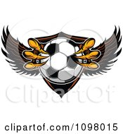 Clipart Eagle Talons Grabbing A Soccer Ball And A Winged Shield Royalty Free Vector Illustration